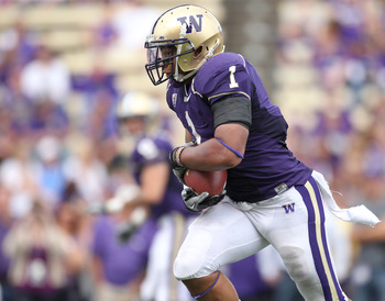 SEATTLE - SEPTEMBER 18: Running back Chris Polk #1 of the Washington Huskies rushes against the Nebraska Cornhuskers on September 18, 2010 at Husky Stadium in Seattle, Washington. (Photo by Otto Greule Jr/Getty Images)