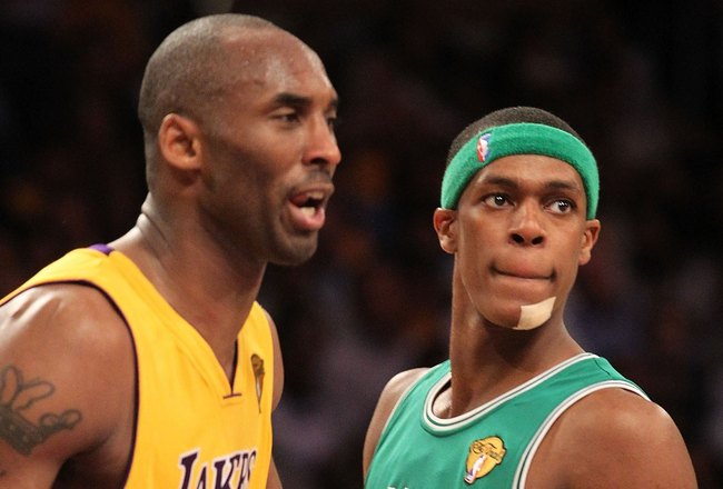LOS ANGELES, CA - JUNE 15:  Rajon Rondo #9 of the Boston Celtics looks on as he stands next to Kobe Bryant #24 of the Los Angeles Lakers in Game Six of the 2010 NBA Finals at Staples Center on June 15, 2010 in Los Angeles, California.  NOTE TO USER: User