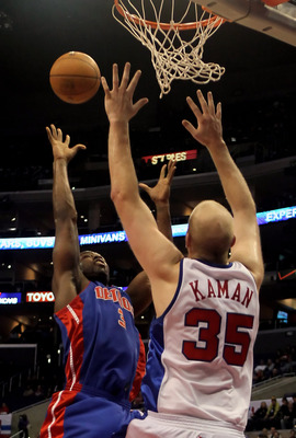 LOS ANGELES, CA - FEBRUARY 24:  Rodney Stuckey #3 of the Detroit Pistons shoots over Chris Kaman #35 of the Los Angeles Clippers during the first half at Staples Center on February 24, 2010 in Los Angeles, California. NOTE TO USER: User expressly acknowle