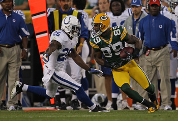 GREEN BAY, WI - AUGUST 26: James Jones #89 of the Green Bay Packers moves against Kelvin Hayden #26 of the Indianapolis Colts during a preseason game at Lambeau Field on August 26, 2010 in Green Bay, Wisconsin. The Packers defeated the Colts 59-24. (Photo