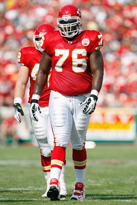 KANSAS CITY - SEPTEMBER 28:  Branden Albert #76 of the Kansas City Chiefs walks on the field during the game against the Denver Broncos on September 28, 2008 at Arrowhead Stadium in Kansas City, Missouri. The Chiefs defeated the Broncos 33-19.  (Photo by: