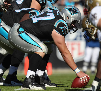 CHARLOTTE, NC - NOVEMBER 07:  Ryan Kalil #67 of the Carolina Panthers against the New Orleans Saints during their game at Bank of America Stadium on November 7, 2010 in Charlotte, North Carolina.  (Photo by Streeter Lecka/Getty Images)