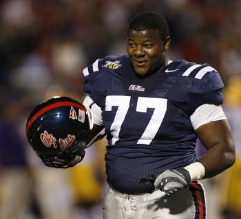 OXFORD, MS - NOVEMBER 17: John Jerry #77 of the Mississippi Rebels smiles during a game against the LSU Tigers on November 17, 2007 at Vaught-Hemingway Stadium/Hollingsworth Field in Oxford, Mississippi. LSU beat Mississippi 41-24. (Photo by Joe Murphy/Ge