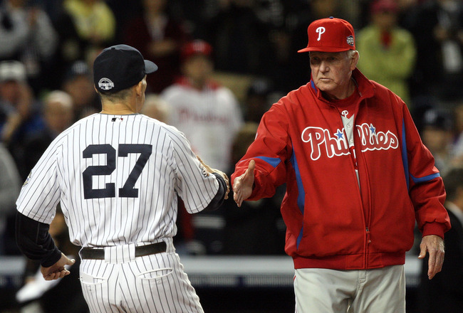 NEW YORK - OCTOBER 28:  Manager Charlie Manuel #41 of the Philadelphia Phillies greets manager Joe Girardi #27 of the New York Yankees during pregame festivities prior to Game One of the 2009 MLB World Series at Yankee Stadium on October 28, 2009 in the B