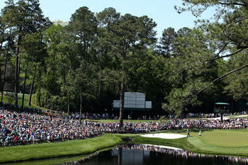 AUGUSTA, GA - APRIL 07:  A general view of the 16th green during the first round of the 2011 Masters Tournament at Augusta National Golf Club on April 7, 2011 in Augusta, Georgia.  (Photo by Andrew Redington/Getty Images)
