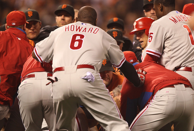 SAN FRANCISCO, CA - AUGUST 05:  Members of the Philadelphia Phillies fight with the San Francisco Giants after Shane Victorino was hit by a pitch in the sixth inning at AT&T Park on August 5, 2011 in San Francisco, California.  (Photo by Jed Jacobsohn/Get