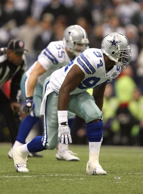 IRVING, TX - DECEMBER 20:  DeMarcus Ware #94 of the Dallas Cowboys lines up on the right side of the defense during their NFL game against the Baltimore Ravens at Texas Stadium on December 20, 2008 in Irving, Texas. The Ravens defeated the Cowboys 33-24.