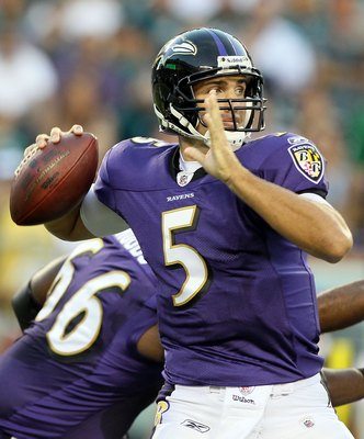 PHILADELPHIA, PA - AUGUST 11:  Joe Flacco #5 of the Baltimore Ravens in action against the Philadelphia Eagles during their pre season game on August 11, 2011 at Lincoln Financial Field in Philadelphia, Pennsylvania.  (Photo by Jim McIsaac/Getty Images)