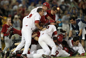 OMAHA, NE - JUNE 28:  The South Carolina Gamecocks celebrate after winning the men's 2011 NCAA College Baseball World Series at TD Ameritrade Park Omaha on June 28, 2011 in Omaha, Nebraska.  The Gamecocks defeated the Florida Gators 5-2 and won the series