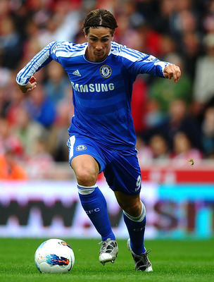 STOKE ON TRENT, ENGLAND - AUGUST 14: Fernando Torres of Chelsea in during the Barclays Premier League match between Stoke City and Chelsea at the Britannia Stadium on August 14, 2011 in Stoke on Trent, England.  (Photo by Laurence Griffiths/Getty Images)