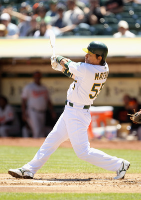 OAKLAND, CA - AUGUST 17:  Hideki Matsui #55 of the Oakland Athletics hits a single in the first inning against the Baltimore Orioles at O.co Coliseum on August 17, 2011 in Oakland, California.  (Photo by Ezra Shaw/Getty Images)
