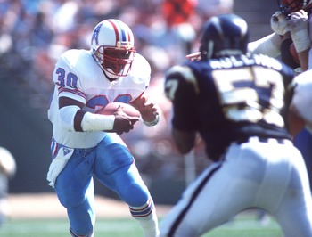30 Sep 1996:  Running back Mike Rozier of the Houston Oilers carries the football during the Oilers 17-7 win over the San Diego Chargers at Jack Murphy Stadium in San Diego, California. Mandatory Credit: Stephen Dunn/Allsport