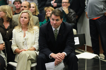 CORAL GABLES, FL - DECEMBER 13:  Former Temple University football coach Al Golden, 41, sits with his wife Kelly Golden before being introduced as the new head coach at the University of Miami  on December 13, 2010 in Coral Gables, Florida.  Golden is rep