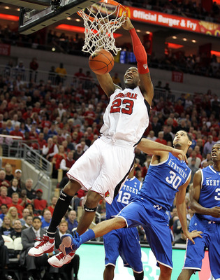LOUISVILLE, KY - DECEMBER 31:  Terrence Jennings  #23 of the Louisville Cardinals dunks the ball during the game against the Kentucky Wildcats at the KFC Yum! Center on December 31, 2010 in Louisville, Kentucky. Kentucky won 78-63.  (Photo by Andy Lyons/G