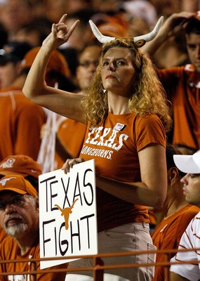 AUSTIN, TX - SEPTEMBER 19:  A Texas Longhorn fan during a game against the Texas Tech Red Raiders at Darrell K Royal-Texas Memorial Stadium on September 19, 2009 in Austin, Texas.  (Photo by Ronald Martinez/Getty Images)