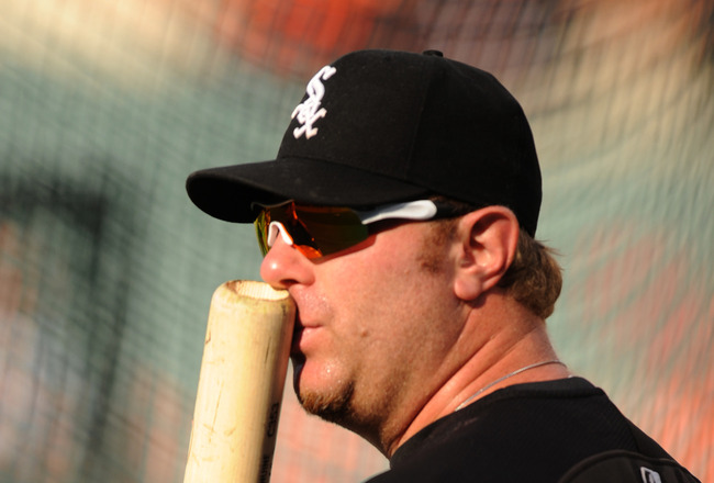BALTIMORE, MD - AUGUST 11:  Adam Dunn #32 of the Chicago White Sox looks on before a baseball game against the Baltimore Orioles at Oriole Park at Camden Yards on August 11, 2011 in Baltimore, Maryland.  (Photo by Mitchell Layton/Getty Images)