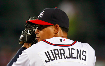 ATLANTA, GA - AUGUST 17:  Jair Jurrjens #49 of the Atlanta Braves pitches to the San Francisco Giants at Turner Field on August 17, 2011 in Atlanta, Georgia.  (Photo by Kevin C. Cox/Getty Images)