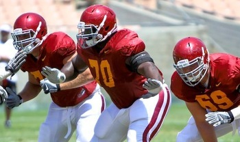 OG Aundrey Walker #70 in USC Fall Camp Scrimmage #2 at the LA Coliseum