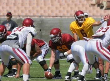 Cyrus Hobbi #69 playing center in USC 2011 Fall Camp Scrimmage #2