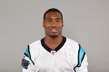 CHARLOTTE, NC - CIRCA 2010: In this handout image provided by the NFL, Mortty Ivy of the Carolina Panthers poses for his 2010 NFL headshot  circa 2010 in Charlotte, North Carolina. (Photo by NFL via Getty Images)