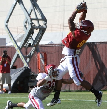 WR George Farmer leaping catch during USC 2011 Fall Camp