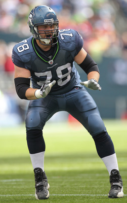 SEATTLE - SEPTEMBER 12:  Tackle Tyler Polumbus #78 of the Seattle Seahawks pass blocks during the NFL season opener against the San Francisco 49ers at Qwest Field on September 12, 2010 in Seattle, Washington. (Photo by Otto Greule Jr/Getty Images)