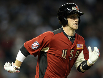 PHOENIX, AZ - JULY 10:  U.S. Futures All-Star Bryce Harper #34 of the Washington Nationals runs to first base as he grounds out in the 2011 XM All-Star Futures Game at Chase Field on July 10, 2011 in Phoenix, Arizona.  (Photo by Christian Petersen/Getty I