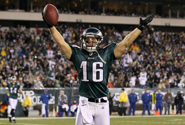 PHILADELPHIA, PA - JANUARY 02:  Chad Hall #16 of the Philadelphia Eagles celebrates his first half touchdown against the Dallas Cowboys on January 2, 2011 at Lincoln Financial Field in Philadelphia, Pennsylvania.  (Photo by Jim McIsaac/Getty Images)