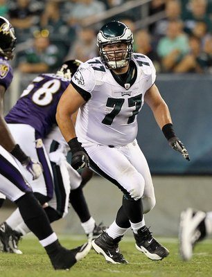 PHILADELPHIA, PA - AUGUST 11: Mike McGlynn #77 of the Philadelphia Eagles in action against the Baltimore Ravens during their pre season game on August 11, 2011 at Lincoln Financial Field in Philadelphia, Pennsylvania.  (Photo by Jim McIsaac/Getty Images)