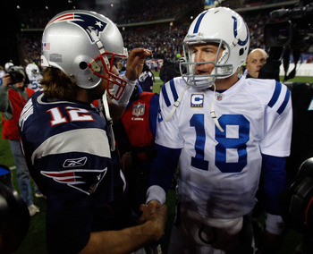FOXBORO, MA - NOVEMBER 21:  Tom Brady #12 of the New England Patriots shakes hands with Peyton Manning #18 of the Indianapolis Colts after their game at Gillette Stadium on November 21, 2010 in Foxboro, Massachusetts. (Photo by Jim Rogash/Getty Images)