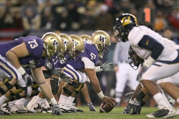 SEATTLE - DECEMBER 05:  Center Mykenna Ikehara #51 of the Washington Huskies gets ready to hike the ball during game against the California Bears on December 5, 2009 at Husky Stadium in Seattle, Washington. The Huskies defeated the Bears 42-10. (Photo by