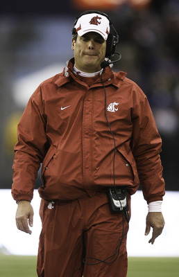 SEATTLE - NOVEMBER 28:  Head coach Paul Wulff of the Washington State Cougars paces the sidelines during the game against the Washington Huskies on November 28, 2009 at Husky Stadium in Seattle, Washington. The Huskies defeated the Cougars 30-0. (Photo by