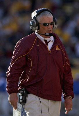 TEMPE, AZ - NOVEMBER 26:  Head coach Dennis Erickson of the Arizona State Sun Devils watches from the sidelines during the college football game against the UCLA Bruins at Sun Devil Stadium on November 26, 2010 in Tempe, Arizona.  (Photo by Christian Pete