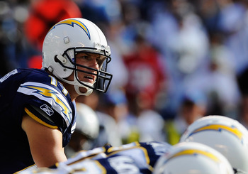 SAN DIEGO, CA - AUGUST 11:  Philip Rivers #17 of the San Diego Chargers in action during the first quarter against the Seattle Seahawks during the NFL preseason game at Qualcomm Stadium on August 11, 2011 in San Diego, California.  (Photo by Kevork Djanse