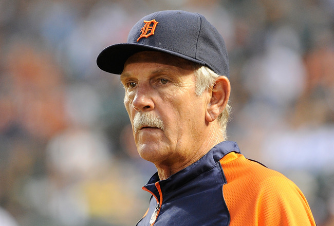 BALTIMORE, MD - AUGUST 13:  Manager Jim Leyland #10 of the Detroit Tigers watches the game against the Baltimore Orioles at Oriole Park at Camden Yards on August 13, 2011 in Baltimore, Maryland. Detroit won the game 6-5. (Photo by Greg Fiume/Getty Images)