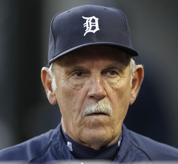 DETROIT - APRIL 26: Detroit Tigers manager Jim Leyland #10 during the game against the Seattle Mariners at Comerica Park on April 26, 2011 in Detroit, Michigan. The Mariners defeated the Tigers 7-3.  (Photo by Leon Halip/Getty Images)