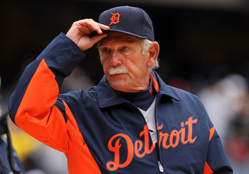 NEW YORK, NY - MARCH 31:  Jim Leyland, Manager of the Detroit Tigers looks on before playing the New York Yankees on Opening Day at Yankee Stadium on March 31, 2011 in New York City. The Yankees won 6-3 in the ninth inning.  (Photo by Nick Laham/Getty Ima