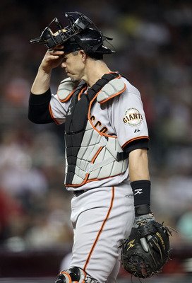 PHOENIX, AZ - JUNE 14:  Catcher Eli Whiteside #22 of the San Francisco Giants during the Major League Baseball game against the Arizona Diamondbacks at Chase Field on June 14, 2011 in Phoenix, Arizona. The Giants defeated the Diamondbacks 6-5.  (Photo by