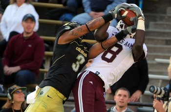 BOULDER, CO - NOVEMBER 07:  Wide receiver Jeff Fuller #8 of the Texas A&M Aggies makes a reception against the defense of Jimmy Smith #3 of the Colorado Buffaloes during NCAA college football action at Folsom Field on November 7, 2009 in Boulder, Colorado