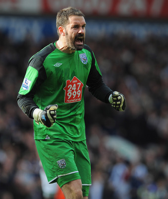 WEST BROMWICH, ENGLAND - APRIL 02: Scott Carson of West Brom celebrates after the Barclays Premier League match between West Bromwich Albion and Liverpool at The Hawthorns on April 2, 2011 in West Bromwich, England.  (Photo by Michael Regan/Getty Images)