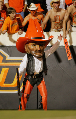 STILLWATER, OKLAHOMA - OCTOBER 16:  The Oklahoma State Cowboys mascot stands on the sideline during the game against the Texas A&M Aggies at Boone Pickens Stadium on October 16, 2004 in Stillwater, Oklahoma. Texas A&M beat Oklahoma State 36-20. (Photo by