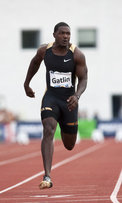 RAKVERE, ESTONIA - AUGUST 3:   Sprinter Justin Gatlin of US in action during the BigBank Kuldliiga Athletics Meeting, his first competitive race after serving a four year drugs ban at The Rakvere Stadium on August 3, 2010 in Rakvere, Estonia. (Photo by Jo