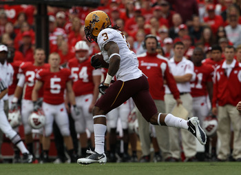 MADISON, WI - SEPTEMBER 18: Omar Bolden #3 of the Arizona State Sun Devils returns a kick-off for a touchdown against the Wisconsin Badgers at Camp Randall Stadium on September 18, 2010 in Madison, Wisconsin. (Photo by Jonathan Daniel/Getty Images)