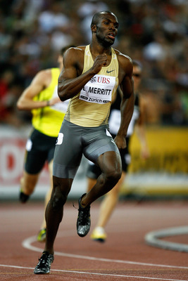 ZURICH, SWITZERLAND - AUGUST 28:  LaShawn Merritt of USA powers to victory in the Mens 400m race during the IAAF Golden League Weltklasse Zurich meeting at the Stadion Letzigrund on August 28, 2009 in Zurich, Switzerland.  (Photo by Paul Gilham/Getty Imag