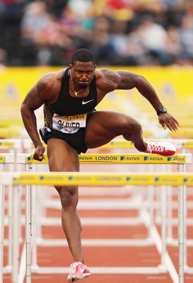 LONDON, ENGLAND - AUGUST 05:  David Oliver of the United States of America competes in the Mens 110m Hurdles Round One during the Aviva London Grand Prix at Crystal Palace on August 5, 2011 in London, England.  (Photo by Ian Walton/Getty Images)