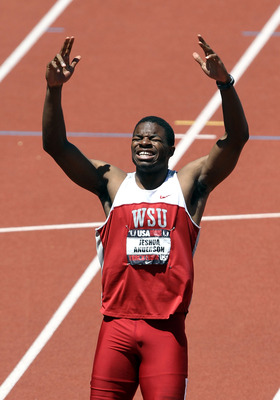 EUGENE, OR - JUNE 26:  Jeshua Anderson celebrates after winning the Men's 400 meter hurdles final on day four of the USA Outdoor Track & Field Championships at the Hayward Field on June 26, 2011 in Eugene, Oregon.  (Photo by Christian Petersen/Getty Image