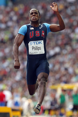 BERLIN - AUGUST 22:  Dwight Phillips of United States competes in the men's Long Jump Final during day eight of the 12th IAAF World Athletics Championships at the Olympic Stadium on August 22, 2009 in Berlin, Germany.  (Photo by Mark Dadswell/Getty Images