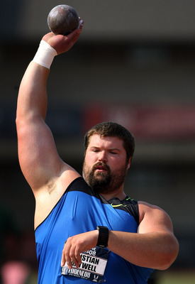 EUGENE, OR - JUNE 28:  Christian Cantwell competes in the men's shot put during day two of the U.S. Track and Field Olympic Trials at Hayward Field on June 28, 2008 in Eugene, Oregon.  (Photo by Andy Lyons/Getty Images)