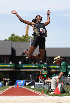 EUGENE, OR - JUNE 26:  First place winner Brittney Reese competes in the Women's long jump final on day four of the USA Outdoor Track & Field Championships at the Hayward Field on June 26, 2011 in Eugene, Oregon.  (Photo by Christian Petersen/Getty Images