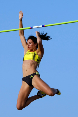 CARSON, CA - MAY 16:  Jenn Stuczysnki competes in the Women's Pole Vault during the Adidas Track Classic at the Home Depot Center on May 16, 2009 in Carson, California.  (Photo by Jeff Gross/Getty Images)